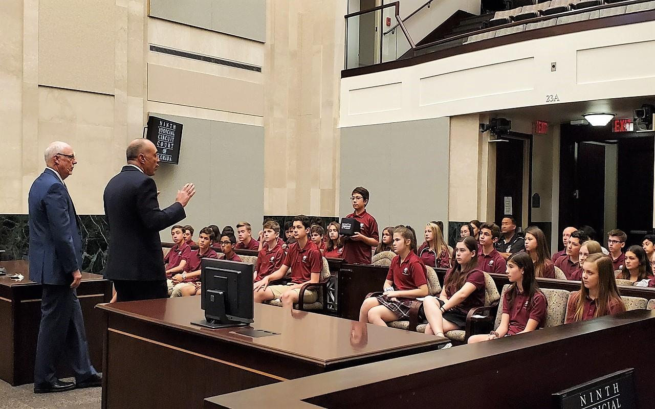 Justice Lawson and Chief Judge Lauten talk to Lake Mary Prep students